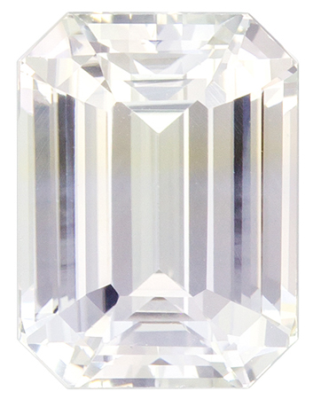 Fine Loose 9 x 6.7 mm Sapphire Genuine Gemstone in Emerald Cut, Colorless White, 3.55 carats