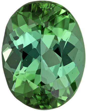 9 x 6.9 mm Blue Green Tourmaline Genuine Gemstone in Oval Cut, Vivid Blue Green, 1.85 carats