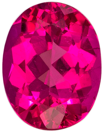 9 x 6.9 mm Rubellite Tourmaline Genuine Gemstone Oval Cut, Fuchsia Red, 1.96 carats