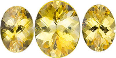 9 x 7 mm Yellow Sapphire Well Matched Gem Pair in Oval Cut, Vivid Yellow, 1.8 carats