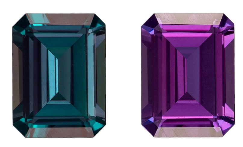 A Beautiful 0.36 carats Alexandrite Genuine Gemstone in Emerald Cut, Medium Teal to Vivid Eggplant, 4.8 x 3.6 mm