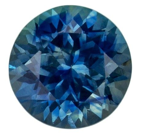 A Beautiful 0.9 carats Sapphire Loose Genuine Gemstone in Round Cut, Teal Blue, 5.5 mm