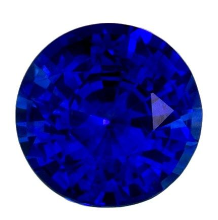 A Beautiful 1.14 carats Sapphire Genuine Gemstone in Round Cut, Intense Blue, 6.2 mm