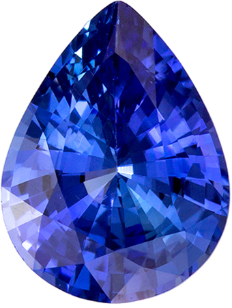 A Beautiful 1.19 carats Sapphire Loose Genuine Gemstone in Pear Cut, Intense Blue, 8 x 6.1 mm
