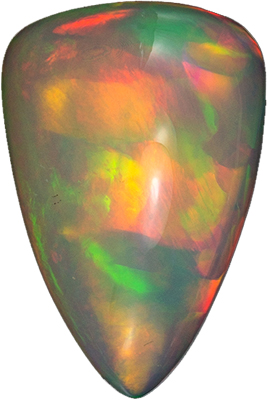 A Beautiful 10.33 carats Opal Genuine Gemstone in Trillion Cut,  Fiery Red, Yellow, Orange21 x 14.3 mm