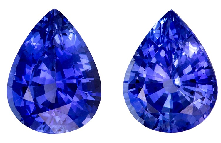 A Beautiful 3.61 carats Sapphire Loose Gemstone Pair in Pear Cut, Intense Blue, 8.9 x 6.8 mm
