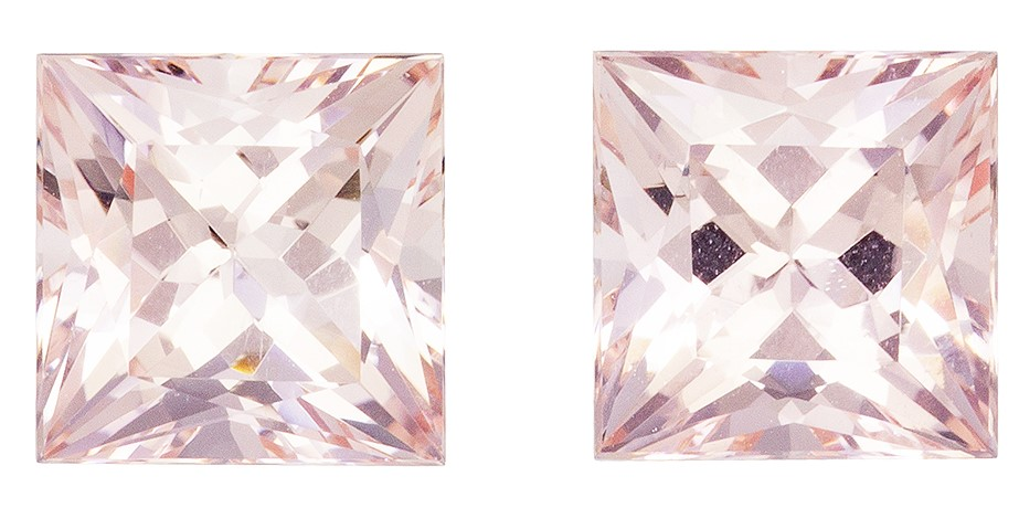 A Beautiful 3.9 carats Morganite Loose Gemstone Pair in Princess Cut, Rich Peach, 7.2 mm
