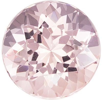 A Beautiful 4.57 carats Morganite Genuine Gemstone in Round Cut, Light Peach, 10.9 mm