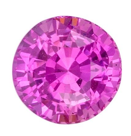 A Beautiful 6.1 mm Sapphire Loose Genuine Gemstone in Round Cut, Intense Pink, 1.25 carats