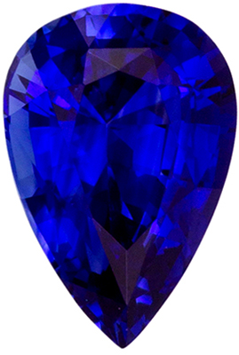 A Beautiful 6.1 x 4.1 mm Sapphire Genuine Gemstone in Pear Cut, Vivid Blue, 0.52 carats