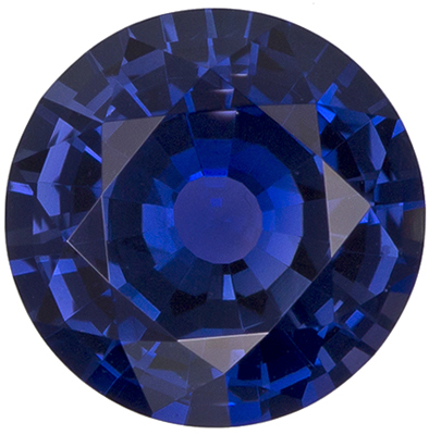 A Beautiful GIA Certified 6.6 x 6.6  mm Sapphire Loose Gemstone in Round Cut, Vivid Blue, 1.21 carats