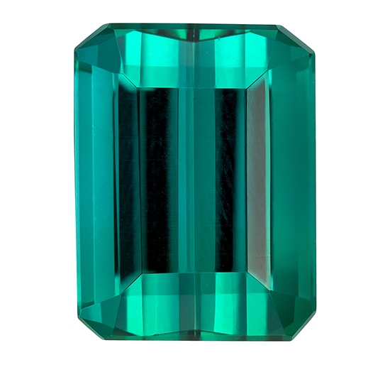 Low Price  Blue Green Tourmaline Genuine Gemstone, 3.98 carats, Emerald Shape, 9.8 x 7.4 mm