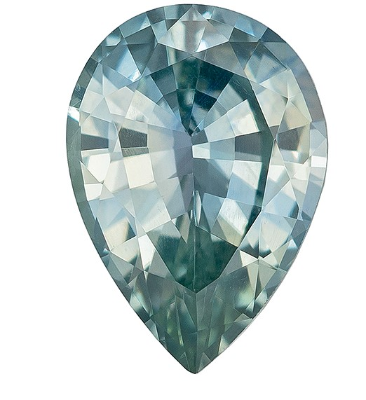 A Beauty of A Gem  Pear Cut Faceted Blue Green Sapphire Gemstone, 0.78 carats, 7 x 5 mm , Big Presence