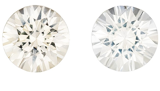 A Beauty of A Gem  White Sapphire Genuine Gemstone, 1.62 carats, Round Shape, 5.5 mm Matching Pair