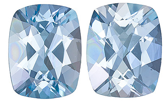 A Great Match! Eye-Catching Unheated Pair of Brazilian Aquamarine Gemstones, Cushion Cut, 4.93 Carats