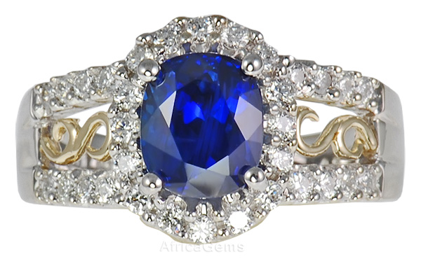 A Low Price on Ring!  2.49 carat 7.70x6.45mm Rich Royal Genuine Blue Sapphire set with Pave Diamonds