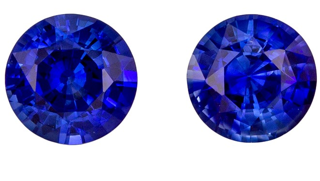 A Wonderful Find! Blue Sapphire Genuine Gemstone, 0.9 carats, Round Shape, 4.4 mm Matching Pair
