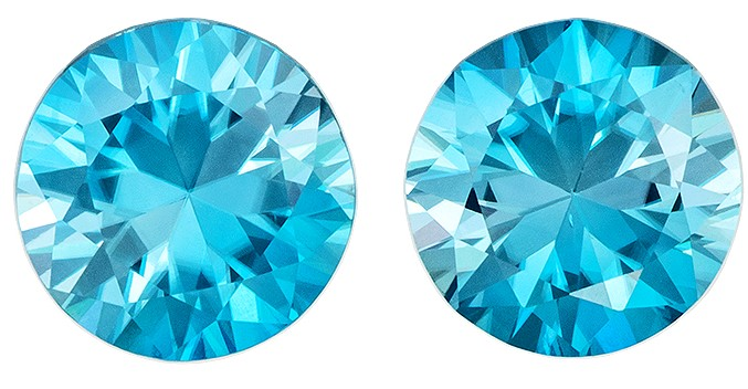 Unset Blue Zircon Gemstones, Round Cut, 3.35 carats, 7 mm Matching Pair, AfricaGems Certified - Great for Studs