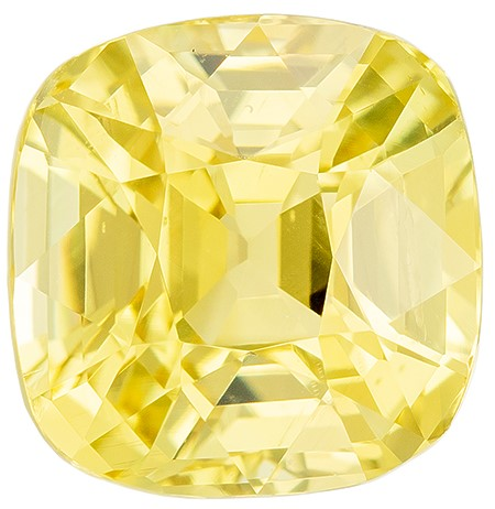A Wonderful Find  Cushion Cut Faceted Yellow Sapphire Loose Gemstone, 3.01 carats, 7.6 x 7.4 mm , Huge Presence