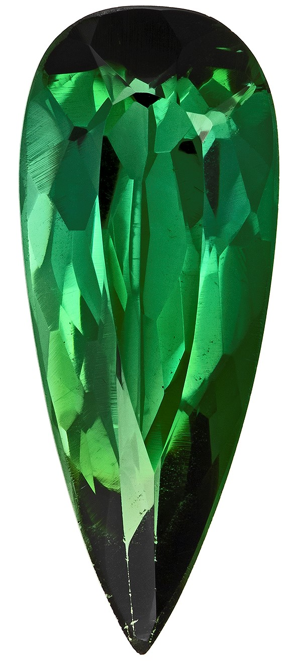 Low Price on Top Gem  Green Tourmaline Genuine Gemstone, 1.45 carats, Pear Shape, 13.1 x 5.3 mm