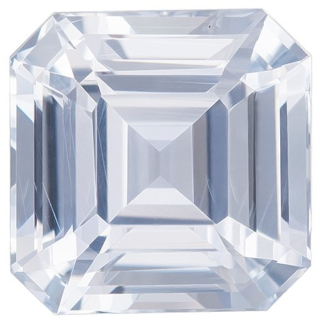 A Wonderful Find!  Asscher Cut Loose White Sapphire Loose Gemstone, 2.55 carats, 7.3 mm , A Must Have Gem