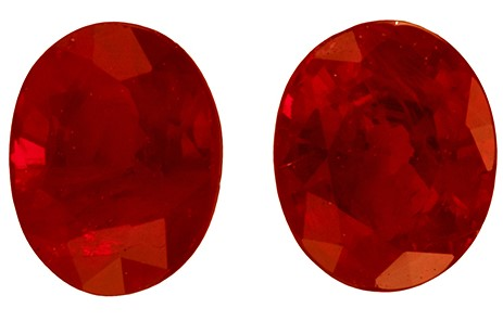 A Wonderful Find!  Oval Cut Faceted Ruby Gemstones, 0.62 carats, 4.2 x 3.3 mm Matching Pair, Stunning Cut