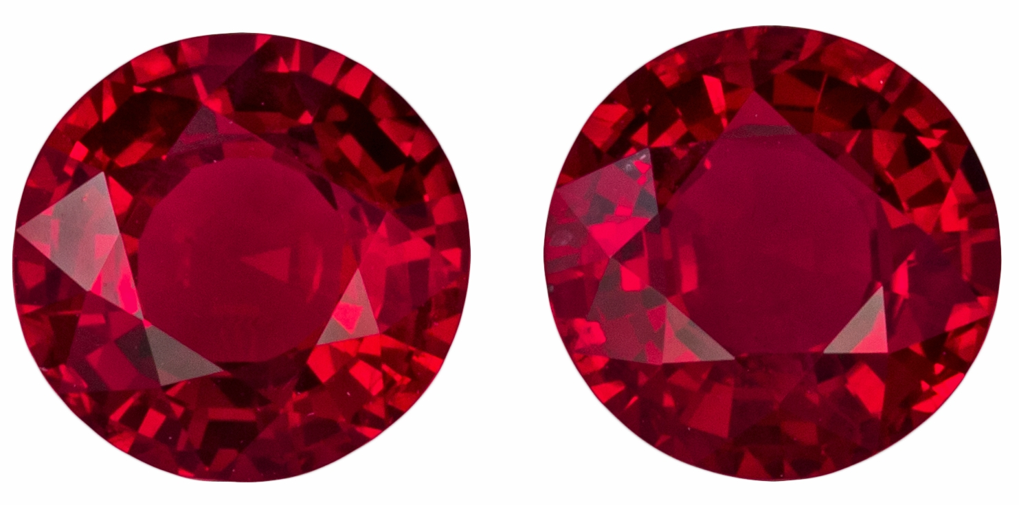 Absolute Killer 3.33 carat Ruby Round Matched Pair Round Gems, Stunning Pair in 7.0 mm
