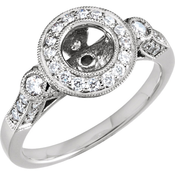 Absolutely Gorgeous Halo Style Preset Ring Base With 9/10ctw in 14kt White Gold
