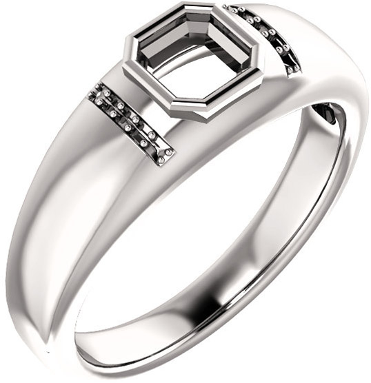 Accented Bezel Set Solitaire Men's Ring Mounting for Asscher Gemstone Size 5mm to 10mm