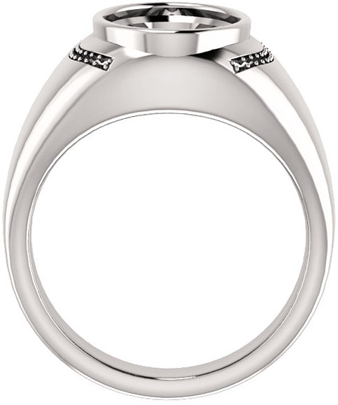 Accented Bezel Set Solitaire Men's Ring Mounting for Oval Shape Centergem Sized 6.00 x 4.00 mm to 16.00 x 12.00 mm - Customize Metal, Accents or Gem Type