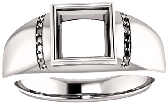 Accented Bezel Set Solitaire Men's Ring Mounting for Square Gemstone Size 4mm to 10mm