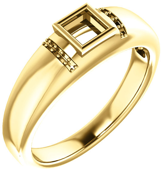 Accented Bezel Set Solitaire Men's Ring Mounting for Square Shape Centergem Sized 4.00 mm to 10.00 mm - Customize Metal, Accents or Gem Type