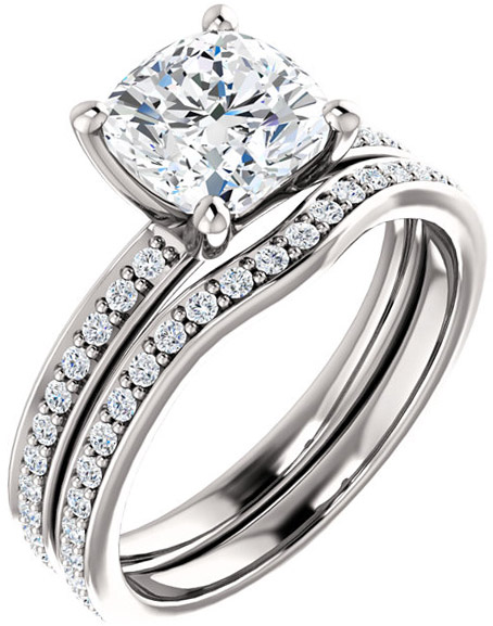 Accented Cushion Engagement Ring Mounting for Shape Centergems Sized 5.00 mm to 8.00 mm Customize Metal, Accents or Gem Type