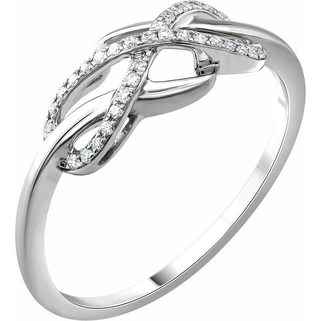White Diamond Ring in Accented Infinity-Inspired Ring