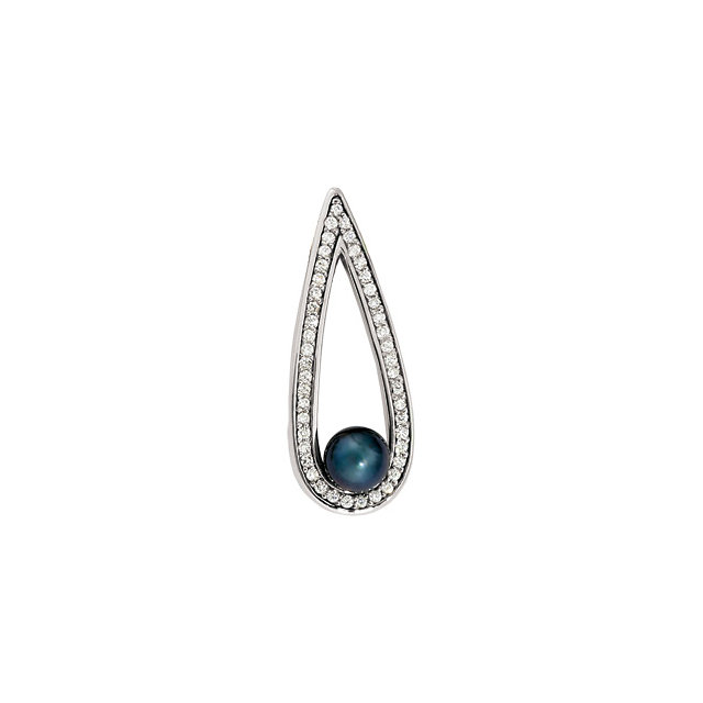 Must See 14 Karat White Gold Black Akoya Cultured Pearl & 0.50 Carat Total Weight Diamond Pendant