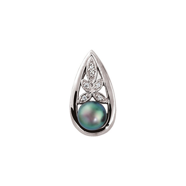 Surprise Her with  14 Karat White Gold Akoya Cultured Pearl & .06 Carat Total Weight Diamond Pendant