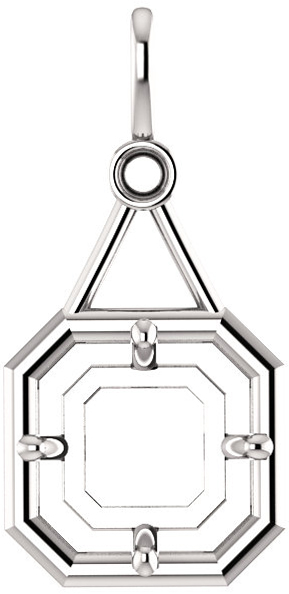 Accented Pendant Mounting for Asscher Centergem Sized 5.00 mm to 10.00 mm - Customize Metal, Accents or Gem Type