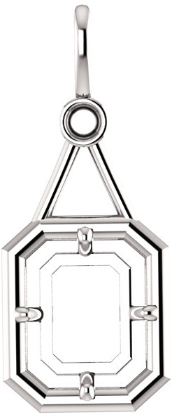 Accented Pendant Mounting for Emerald Centergem Sized 5.00 x 3.00 mm to 16.00 x 12.00 mm - Customize Metal, Accents or Gem Type