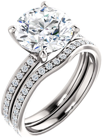 Accented Round Engagement Ring Mounting for Shape Centergems Sized 4.80 mm to 9.40 mm Customize Metal, Accents or Gem Type