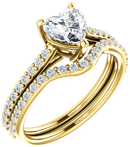 Accented Solitaire Engagement Ring for Heart Shape Centergem Sized 5.00 mm to 10.00 mm - Customize Metal, Accents or Gem Type