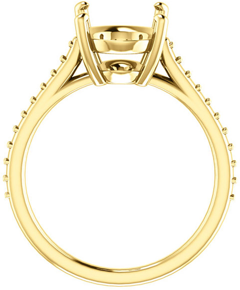 Accented Solitaire Engagement Ring for Oval Shape Centergem Sized 6.00 x 4.00 mm to 12.00 x 10.00 mm - Customize Metal, Accents or Gem Type