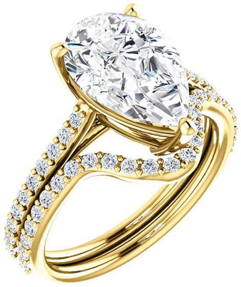 Accented Solitaire Engagement Ring for Pear Shape Centergem Sized 6.00 x 4.00 mm to 12.00 x 8.00 mm - Customize Metal, Accents or Gem Type