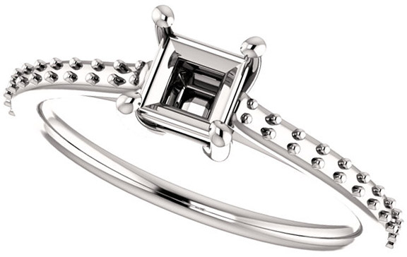 Accented Solitaire Engagement Ring for Square Shape Centergem Sized 4.00 mm to 10.00 mm - Customize Metal, Accents or Gem Type