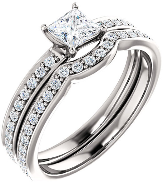 Accented Square Engagement Ring Mounting for Shape Centergems Sized 4.00 mm to 7.00 mm Customize Metal, Accents or Gem Type