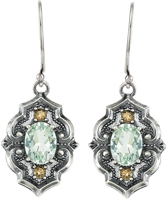 Accented Victorian Style Wire Back Earring Mounting For Oval Gemstone Size 8 x 6mm
