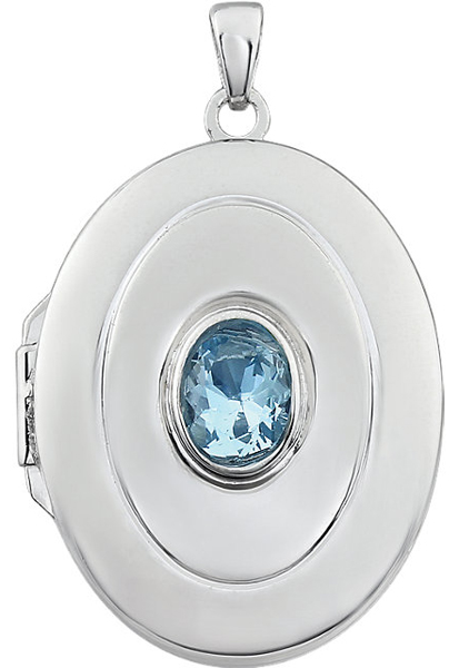 Adorable 1ct 7x5mm Oval Shape December Birthstone Sterling Silver Locket - Bezel Set Sky Blue Topaz - FREE Chain