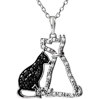 Adorable .25ct .9-1.5mm Black & White Diamond Cat & Dog Pendant in Sterling Silver for SALE - Free Chain Included