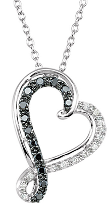 Adorable .2ct Black & White 0.95-1.50 mm Diamond Curly Q Heart Pendant in Sterling Silver For SALE - Free Chain Included