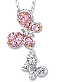 Adorable .41ct 1.9-2mm Pink Sapphire & Diamond Butterflies Necklace set in 44 karat White Gold for SALE - Free Chain