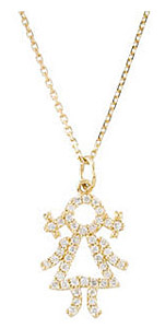 Adorable Baby Girl 1/5ct Diamond Outline Pendant - Choose 14k White or Yellow Gold - FREE Chain Included